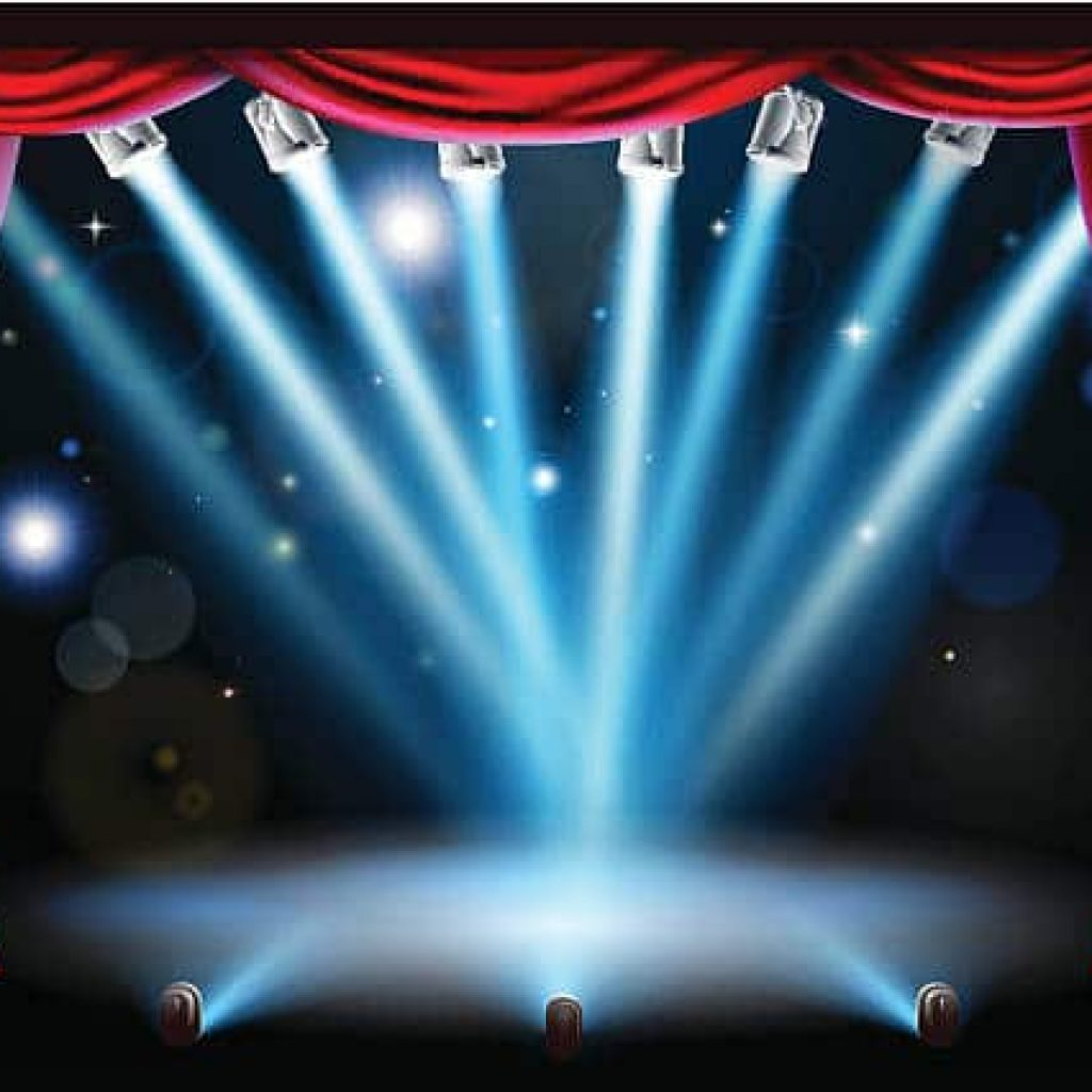 Stage background illustration with blue stage spot lights pointing to the centre of the stage and red curtain frame. Vector file is eps 10 and uses transparency blends and gradient mesh